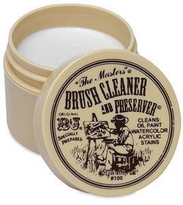 The Masters Brush Cleaner and Preserver is a good choice at all levels of practice.