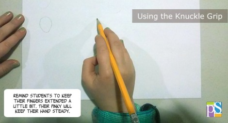 Resting your pencil on your knuckle can help students draw lightly.